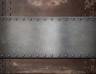 Wall Mural - metal plate with rivets over rustic steel background