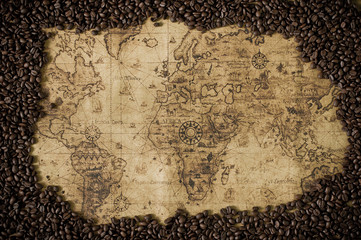 coffee bean  with map