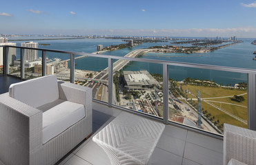 Balcony with a view of Downtown Miami and the bay