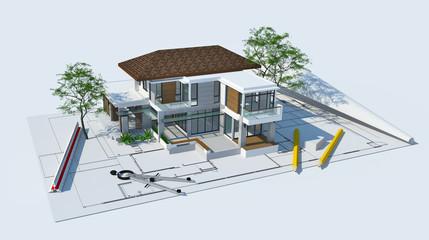 3d illustration of building design concept, architects computer