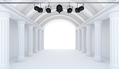 Empty White Room with spotlight- 3d Perspective