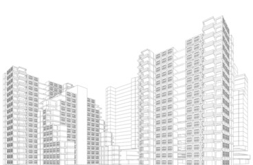 Perspective 3D render of Aerial view of city buildings