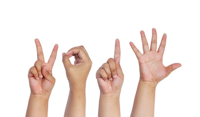 Children Hands Forming Number 2015 On a White Background.