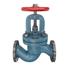 Industrial valve isolation on white