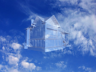 3D House on beautiful sky background. Concept - eco house.