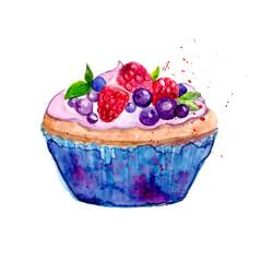 Watercolor tartlet vector illustration.