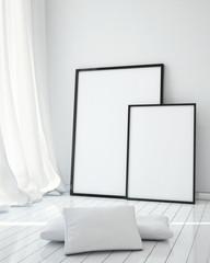 mock up poster frames in white scandinavian interior, background