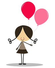 Doodle little girl carrying balloons - Full Color