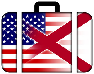 Suitcase with USA and Alabama State Flag