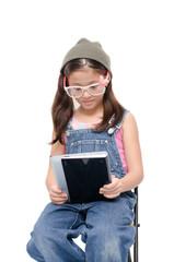 Little girl holding tablet on white background