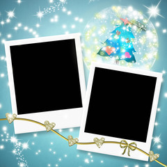 Two instant photo frames and christmas tree within a ball