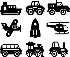 Set of toys transportation - vector silhouette illustration