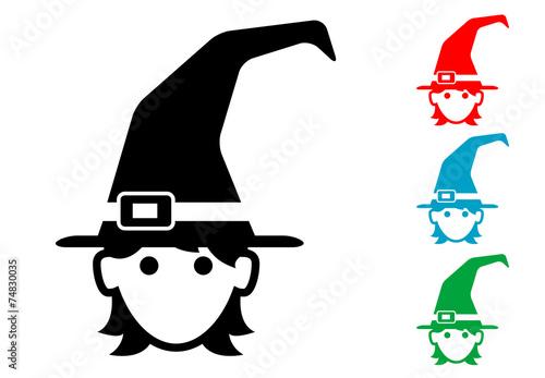 Pictograma icono bruja con varios colores.\