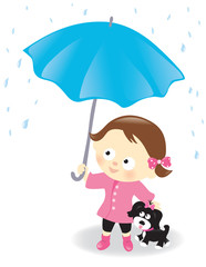 Girl and puppy with umbrella