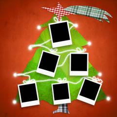 Six empty photo frames Christmas tree card