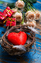 spring bird nest as symbol of Valentine's day