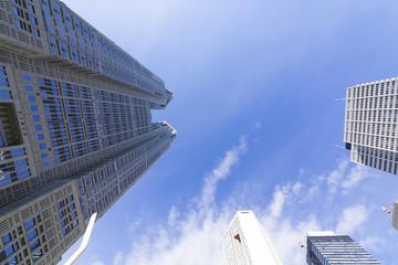 [東京都市風景]東京都庁前から望む新宿高層ビル群を見上げる [超広角撮影]