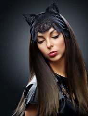 Beautiful girl with make-up, cat.