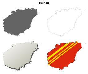 Hainan blank outline map set