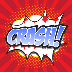 CRASH! wording sound effect set design for comic background