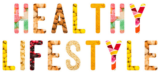 Healthy Lifestyle Word Isolated Made From Food Ingredients