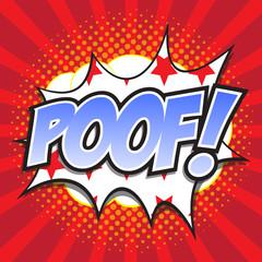 POOF! wording sound effect set design for comic background