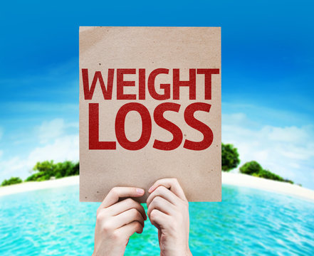 Weight Loss card with a beach background
