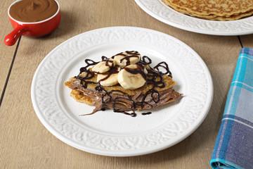 pancake cioccolato e banane