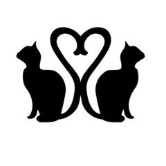 Silhouette Cats with the Tails Forming a Heart
