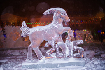 Ice sculpture of the sheep - the sign of 2015 year in Chinese zo