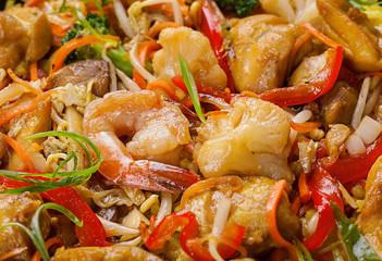 Shrimp seafood and vegetable