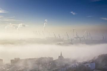 Aerial view of Port in dense Fog