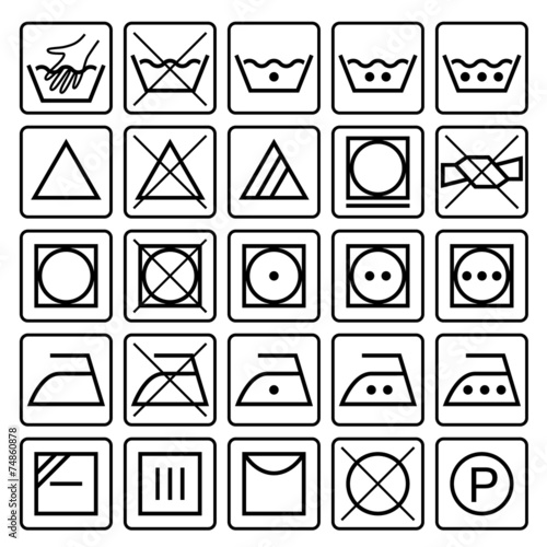 Laundry Care Symbols Set Of Textile Care Icons Wash And Care S