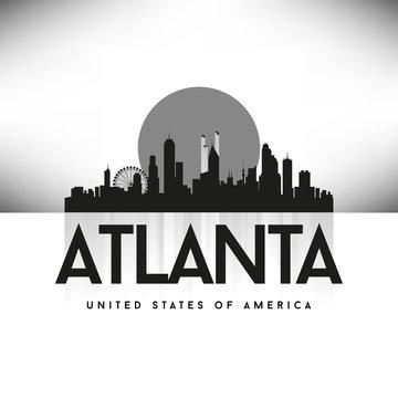 Atlanta USA Skyline Silhouette Black vector