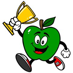 Green Apple Running with Trophy
