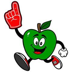 Green Apple Running with Foam Finger