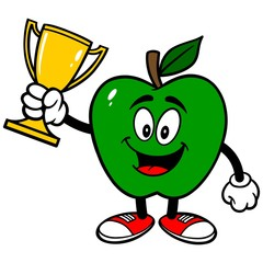 Green Apple with Trophy