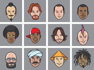 Cartoon avatar eccentric faces