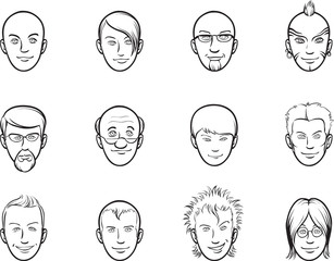 whiteboard drawing - cartoon avatar various men faces