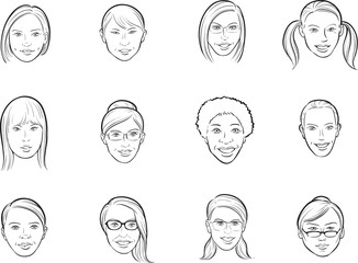 whiteboard drawing - cartoon avatar various women faces