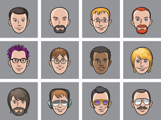 Cartoon avatar men faces