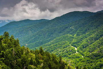 Dramatic view of the Appalachian Mountains from Newfound Gap Roa
