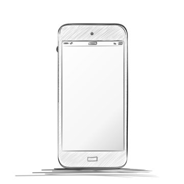 Mobile Phone Sketch Drawing. Hand drawn  vector illustration isolated on white background.