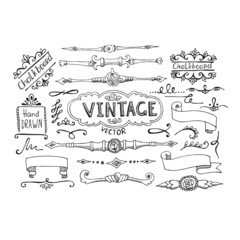 Vector Illustration of Decorative Vintage Elements