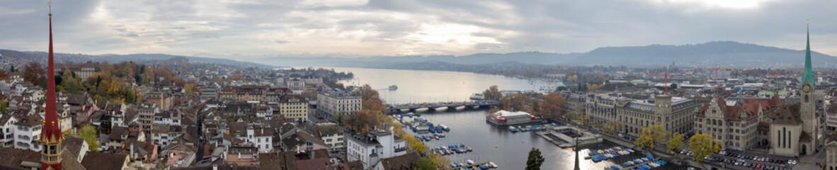 Panoramic picture of Zurich and Lake Zurich (Switzerland).