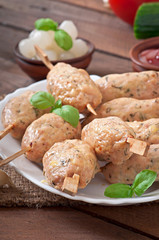Kebab of minced chicken with dill and parsley