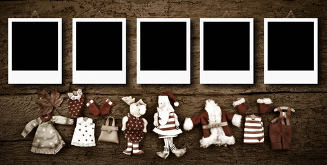 Five empty Christmas photo frames card