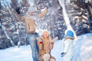 Family fun in a winter