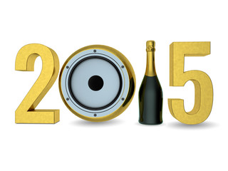 2015 Happy New Year with champagne and speaker