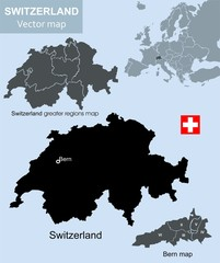 Switzerland and Bern vector map
